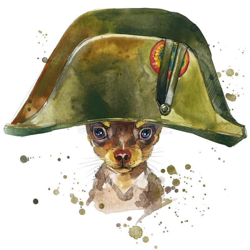 Gráficos de la camiseta del perro del terrier de juguete el ejemplo del perro del terrier de juguete con la acuarela del chapoteo ilustración del vector