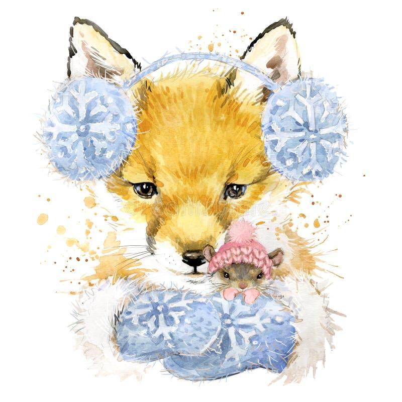 Gráficos de la camiseta del zorro, zorro de la acuarela y ejemplo lindos del ratón libre illustration