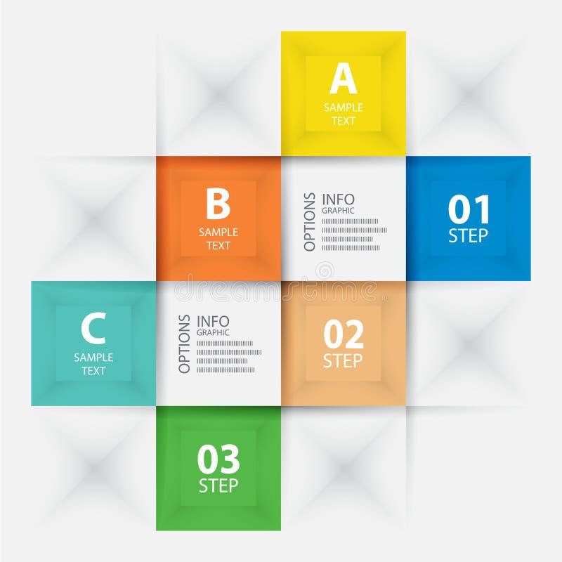 Gráficos de la información, estilo moderno de la papiroflexia del paso, cuadrado de la bandera de las opciones ilustración del vector