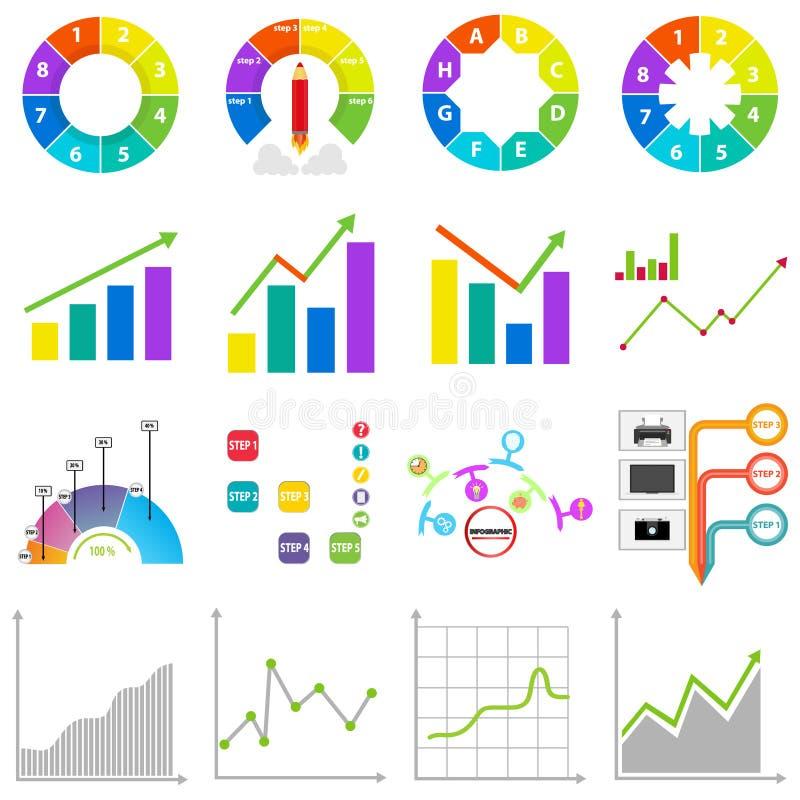 Gráficos de la información, gráfico, diagrama, análisis Un sistema grande de gráficos stock de ilustración