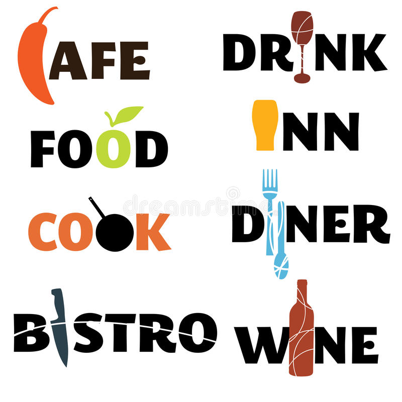 Gráficos de la palabra de la comida y de la bebida libre illustration