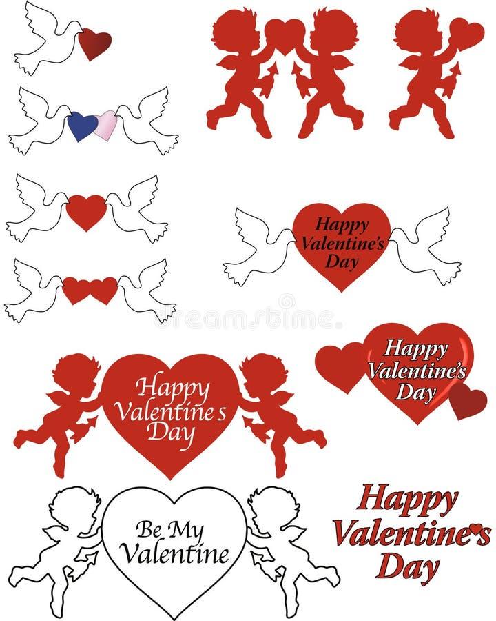 Gráficos de la tarjeta del día de San Valentín ilustración del vector
