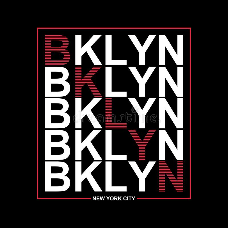 Gráficos de la tipografía de Brooklyn, Nueva York para la camiseta Ropa atlética de la impresión con las letras - BKLYN Línea dis libre illustration