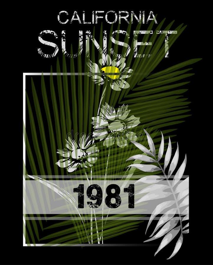 Gráficos de la tipografía de California Diseño de la impresión de la camiseta para el spor ilustración del vector