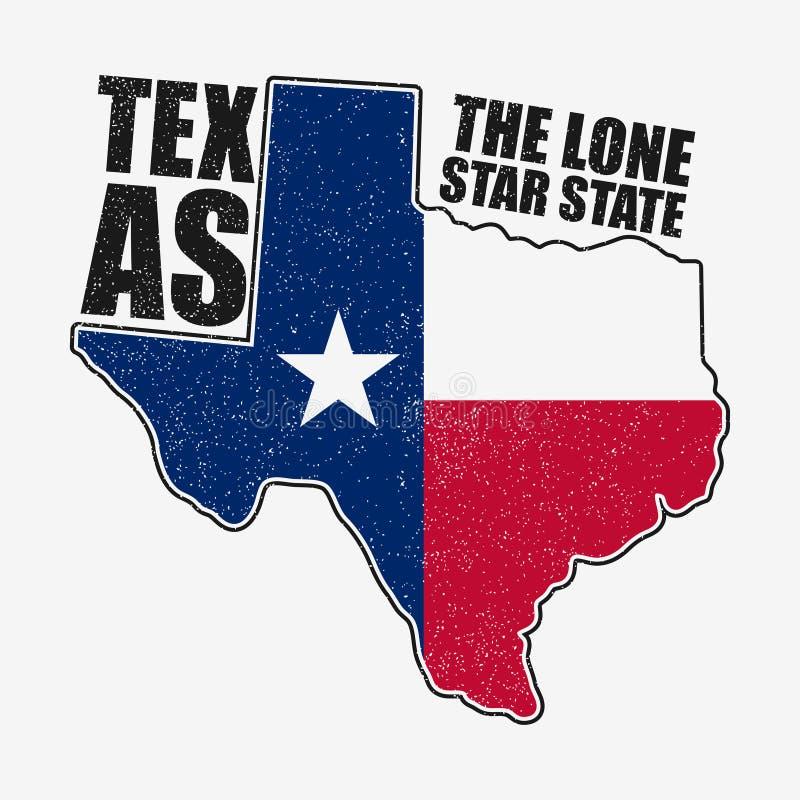 Gráficos de la tipografía de Tejas para la camiseta con la bandera y el mapa del estado Impresión del Grunge para la ropa, ropa V libre illustration