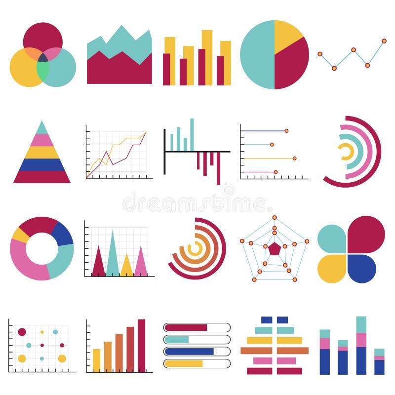 Gráficos de los datos de negocio Cartas financieras y del márketing Comercialice los diagramas y los gráficos de los gráficos cir ilustración del vector