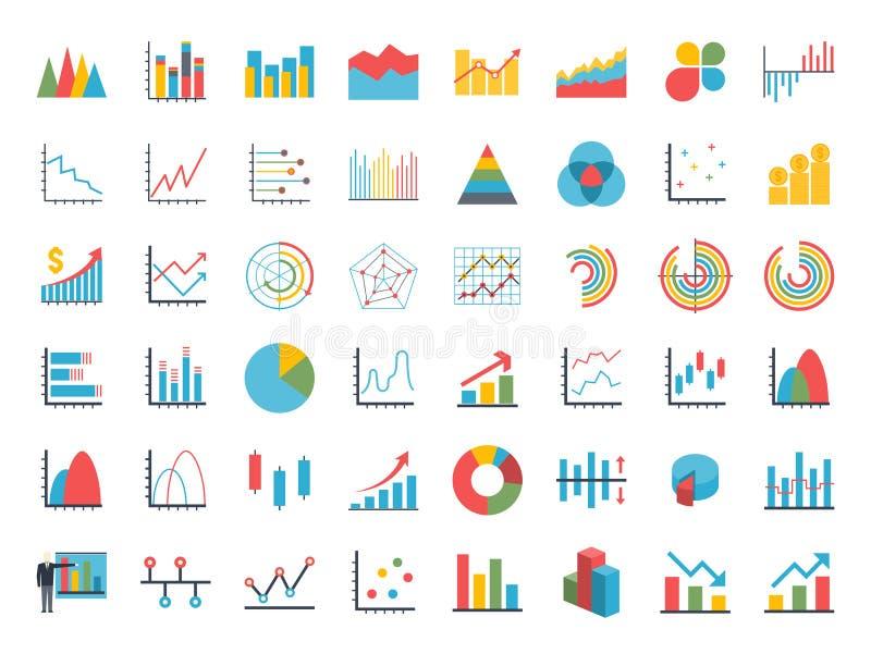 Gráficos de los gráficos circulares de la barra del punto de los datos del negocio ilustración del vector