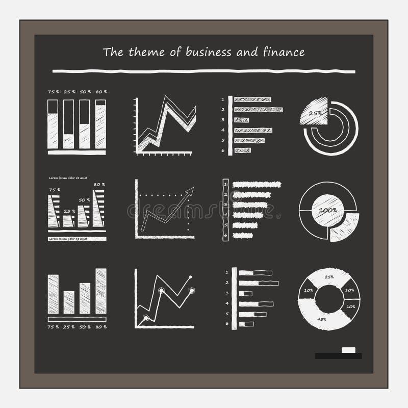 Gráficos de negocio en la pizarra con tiza ilustración del vector