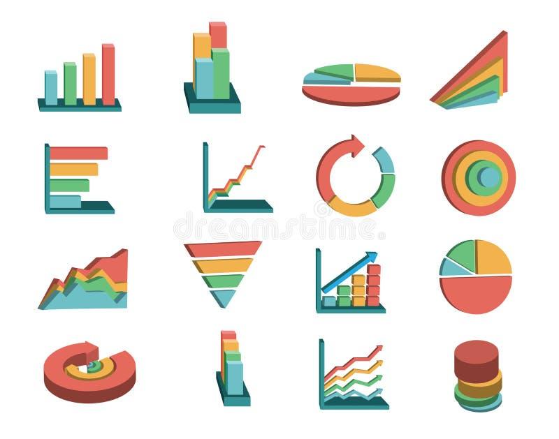 gráficos de negocio fijados ilustración del vector