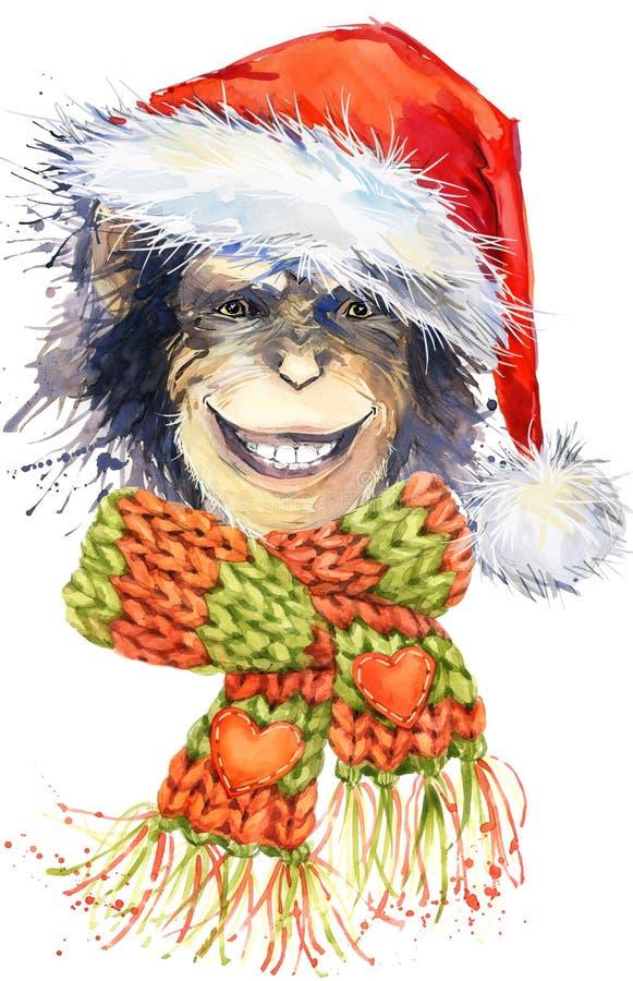 Gráficos de Papá Noel del mono del Año Nuevo, ejemplo del chimpancé del mono ilustración del vector