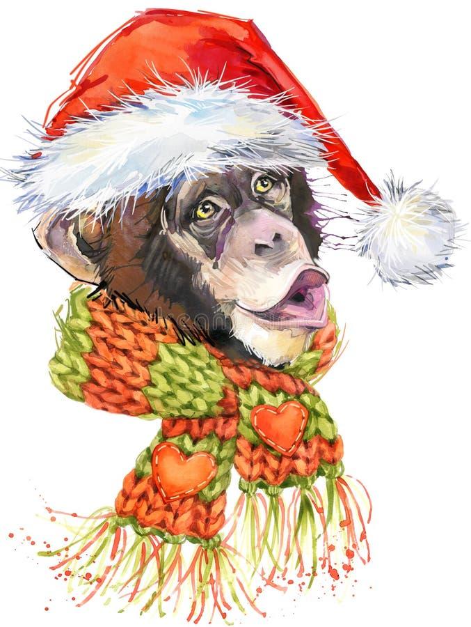 Gráficos de Papai Noel do macaco do ano novo, ilustração do chimpanzé do macaco ilustração stock