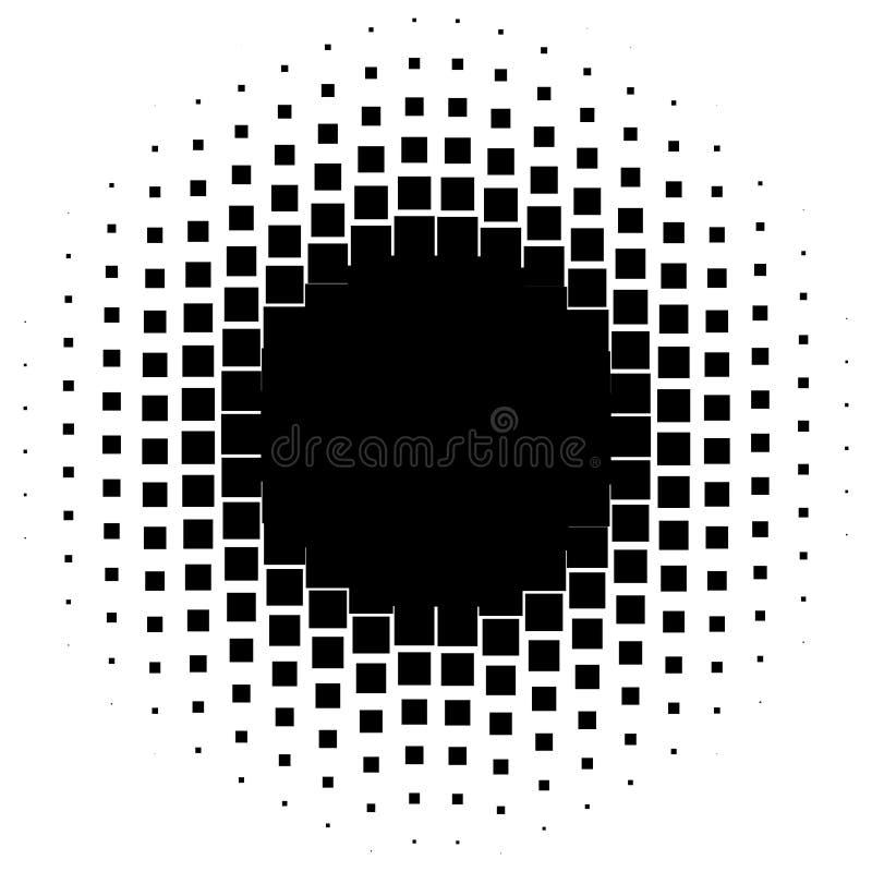 Gráficos de semitono con los cuadrados, elemento abstracto monocromático ilustración del vector