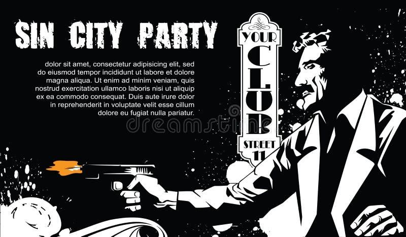 Gráficos de vector Aviadores de la plantilla Partido de Sin City Un hombre con un arma ilustración del vector