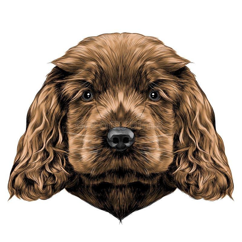 Gráficos de vector del bosquejo de la cara del perro stock de ilustración