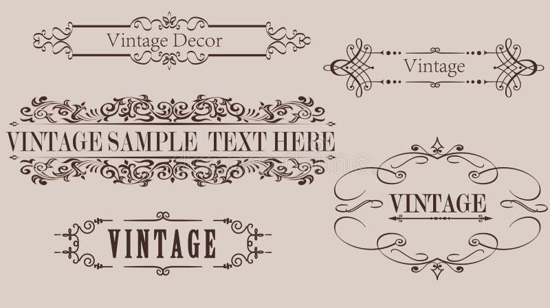 Gráficos de vector del marco de la caligrafía del vintage imagenes de archivo