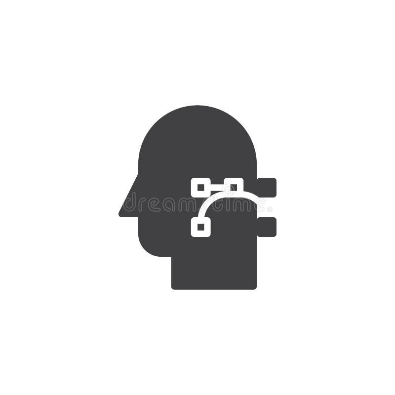 Gráficos de vector e icono del vector de la cabeza humana stock de ilustración
