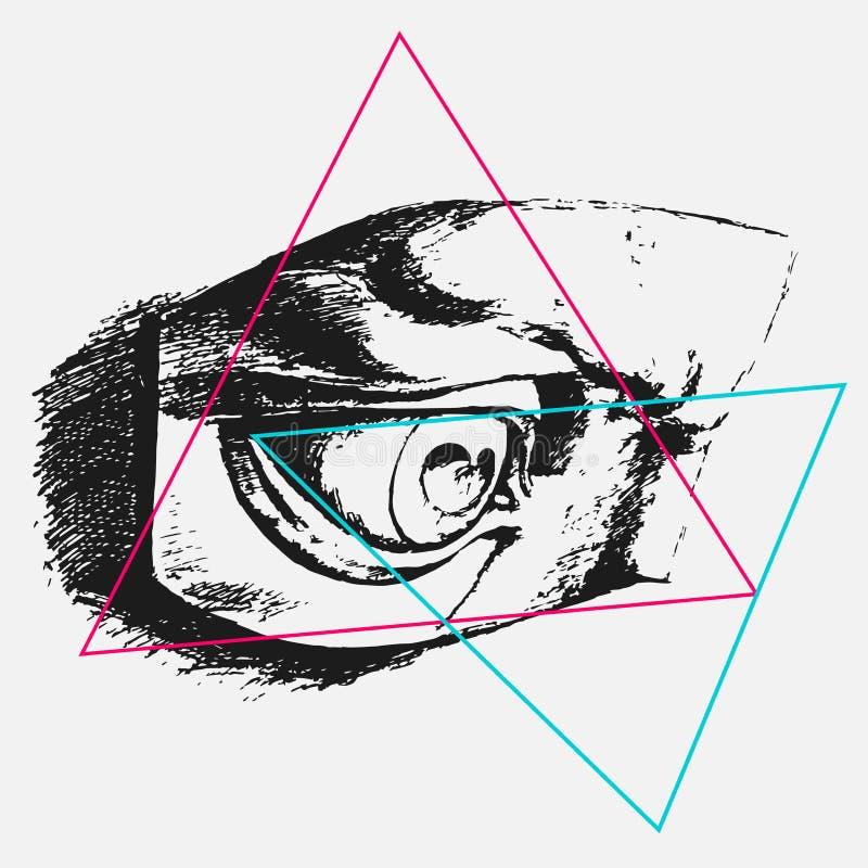 Gráficos de vector, ejemplo para la impresión en la camiseta, bosquejo del ojo, grunge, tatuaje de los triángulos stock de ilustración