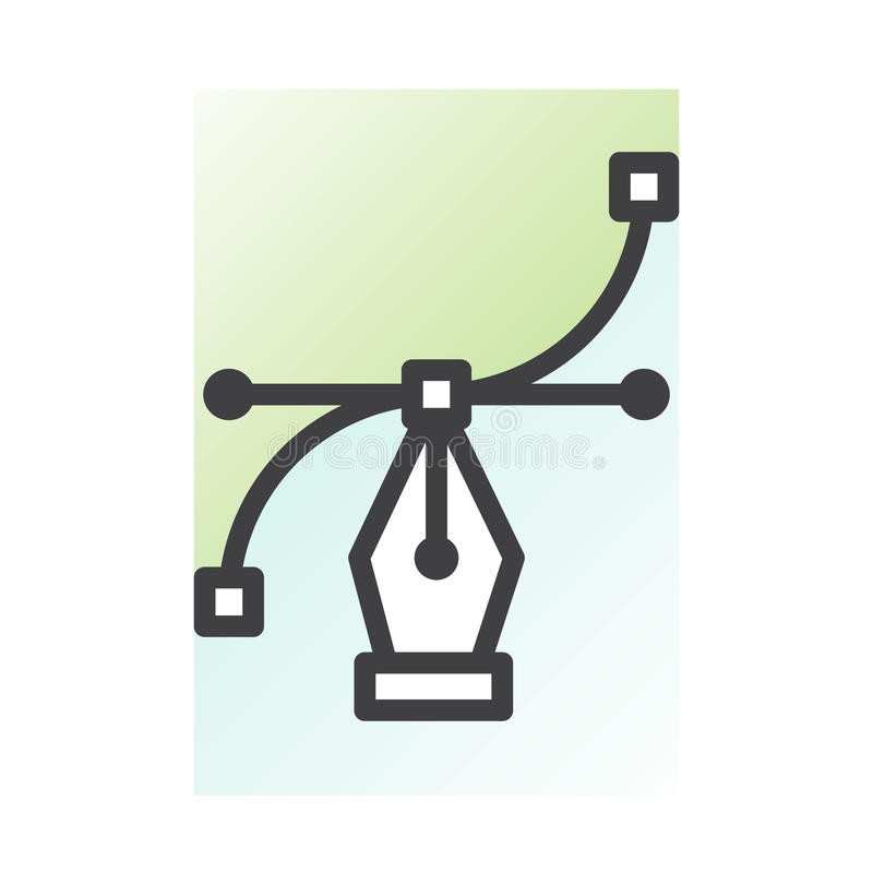 Gráficos de vector y proceso de la creación del diseño stock de ilustración
