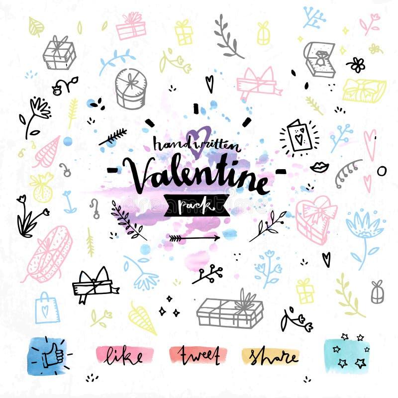 Gráficos de vetor atuais do dia de Valentim do presente ilustração stock