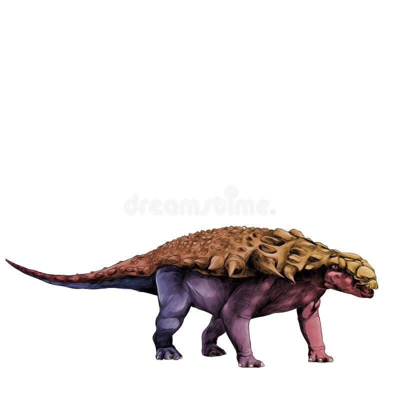 Gráficos de vetor do esboço do tatu do stegosaurus do dinossauro ilustração stock