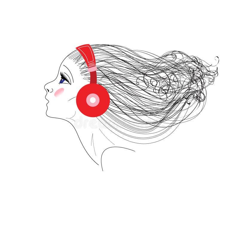 Gráficos de vetor do retrato de uma menina com fones de ouvido ilustração royalty free