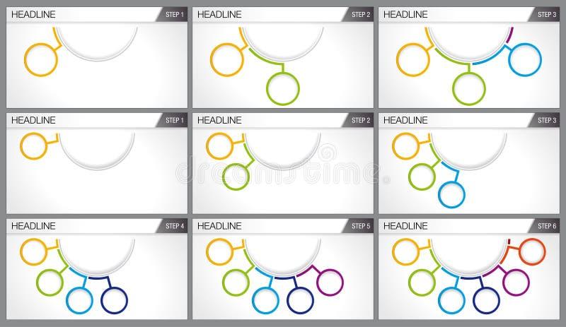 Gráficos de 3 y 6 opciones bajo la forma de círculos de diversos colores ilustración del vector