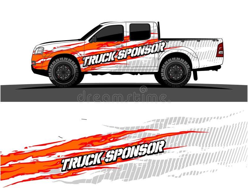 Gráficos del camión Vehículos que compiten con el fondo de las rayas stock de ilustración