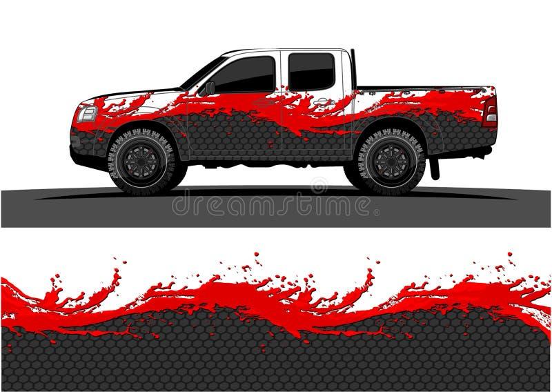 Gráficos del camión Vehículos que compiten con el fondo de las rayas ilustración del vector