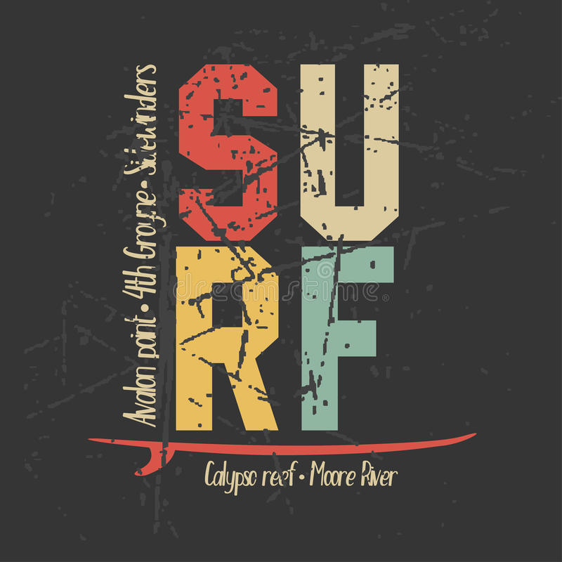 Gráficos del diseño que practican surf para la camiseta, diseño del vintage stock de ilustración