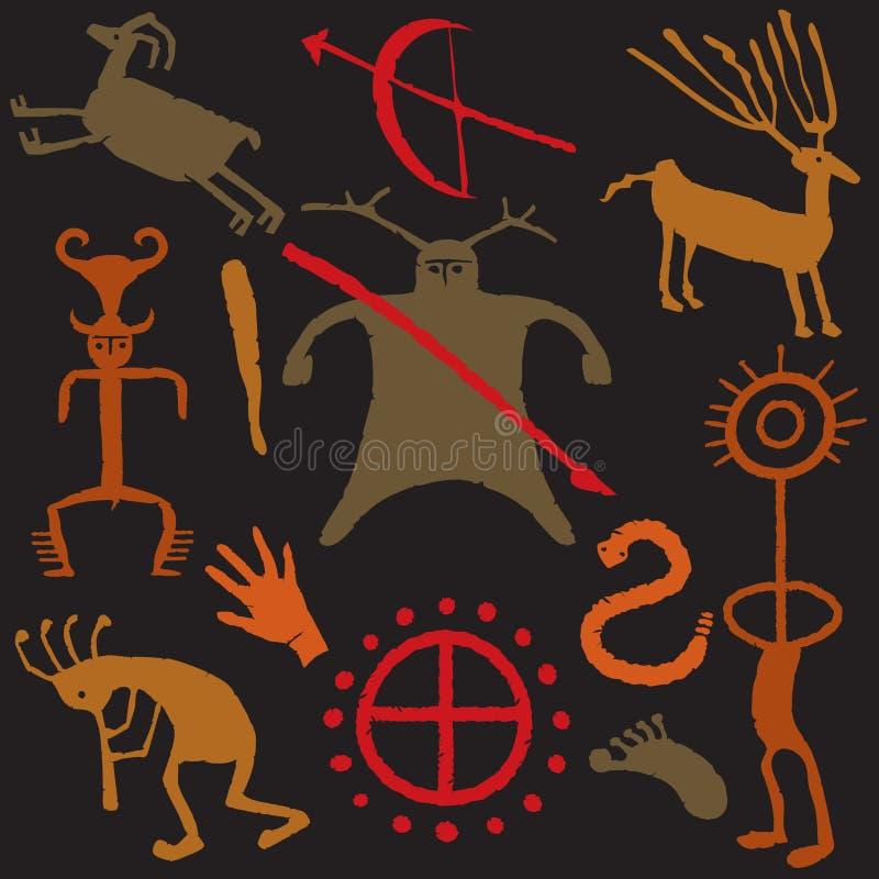 Gráficos del hombre de las cavernas y de la cueva stock de ilustración