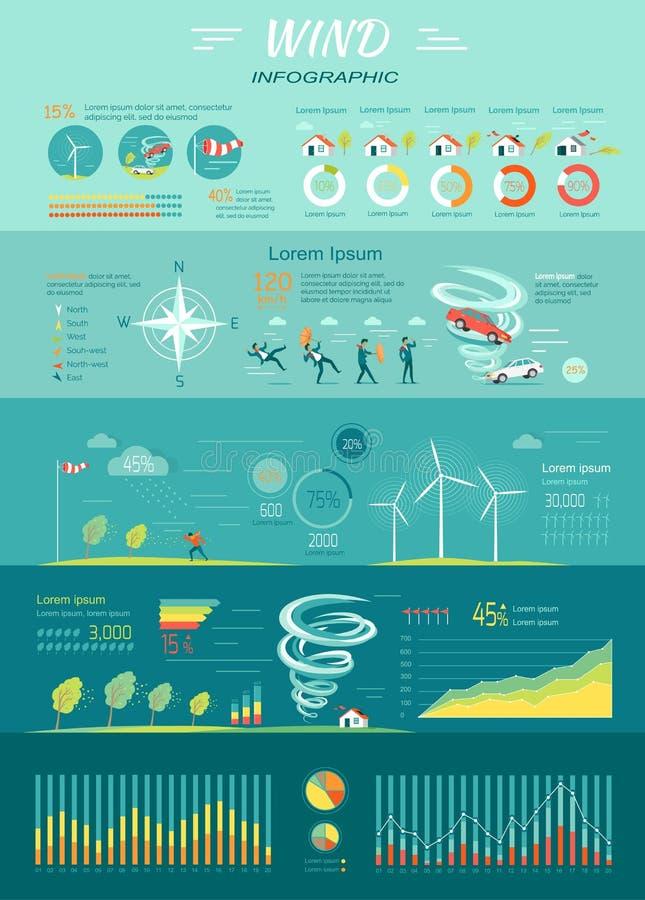 Gráficos del viento Huracán del tornado Energía renovable stock de ilustración