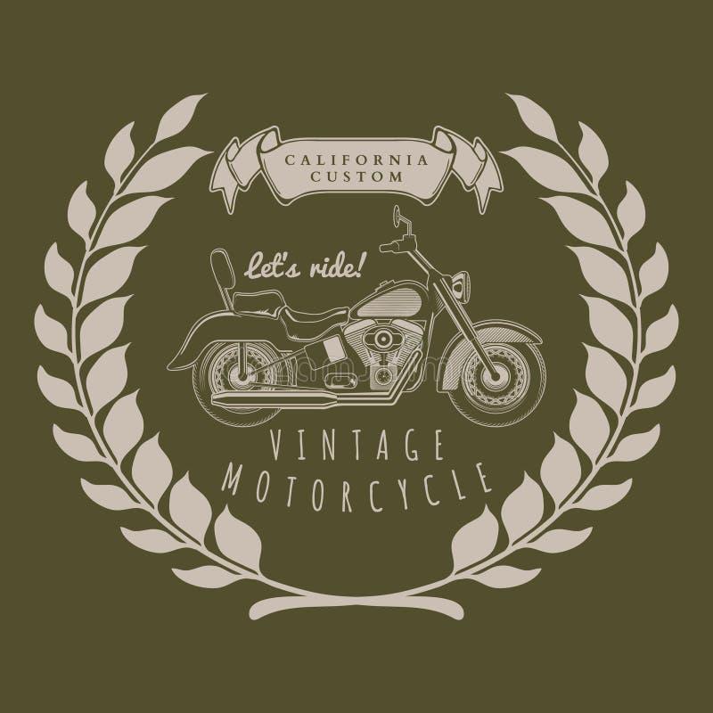 Gráficos del vintage de la motocicleta, tipografía de la camiseta, vector del vintage ilustración del vector