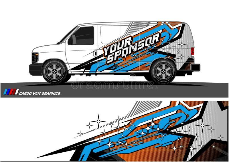 Gráficos do caminhão Veículos que competem o fundo das listras ilustração royalty free