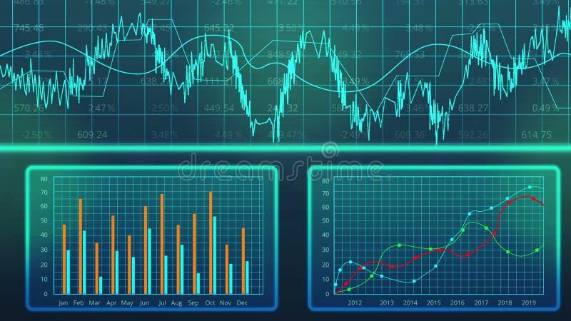 Gráficos do computador do crescimento do GDP do ` s do país, previsão do desenvolvimento econômico, comércio ilustração stock
