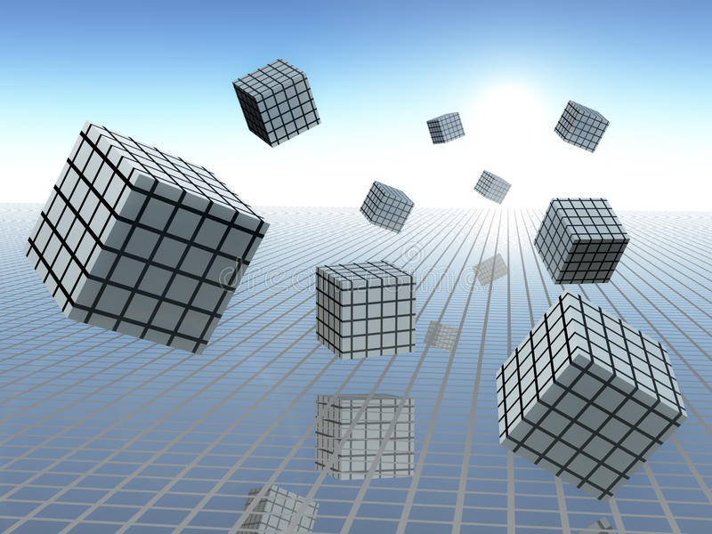 Gráficos do cubo no movimento ilustração do vetor