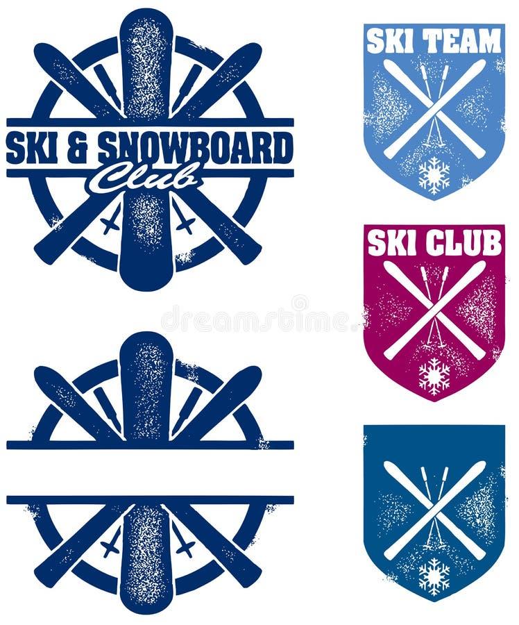 Gráficos do esqui e da equipe do Snowboard ilustração do vetor