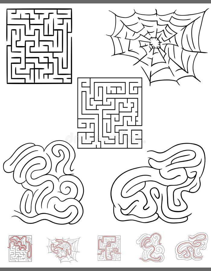 Gráficos do jogo do lazer do labirinto ajustados com soluções ilustração royalty free
