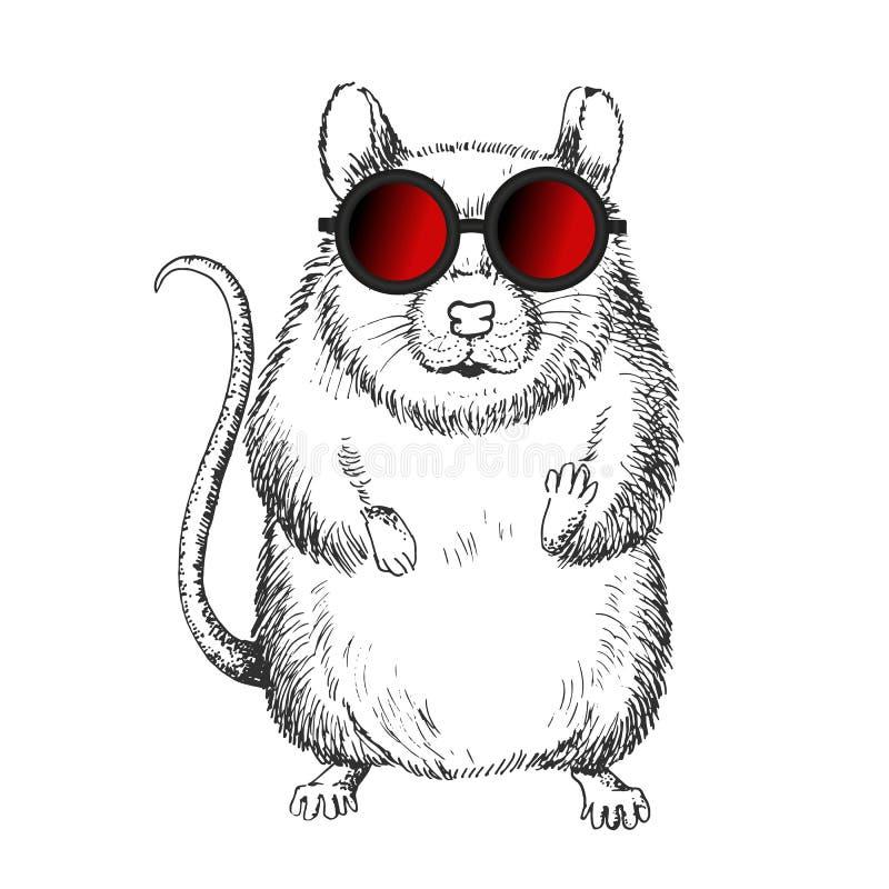 Gráficos do rato preto e branco em vidros vermelhos no fundo branco ilustração stock