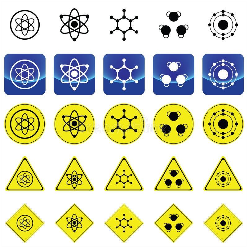 Gráficos do sinal para a estrutura do átomo e da molécula ilustração do vetor