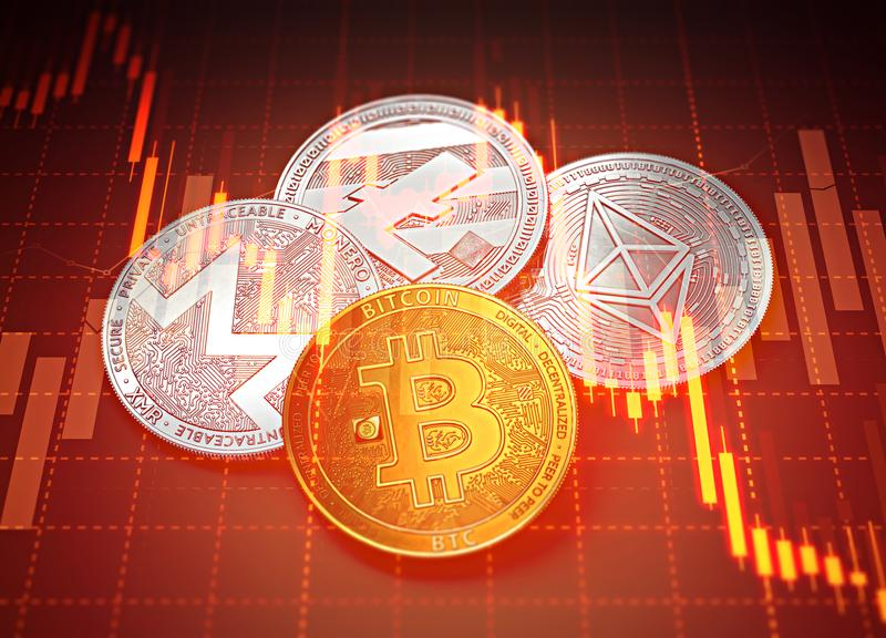Gráficos do sucesso de Cryptocurrencies com diminuição das cartas Conceito da diminuição de Cryptocurrencies ilustração stock
