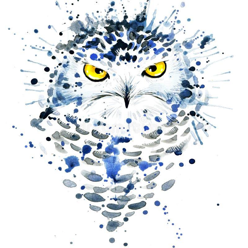 Gráficos do t-shirt/coruja nevado bonito, aquarela da ilustração ilustração stock