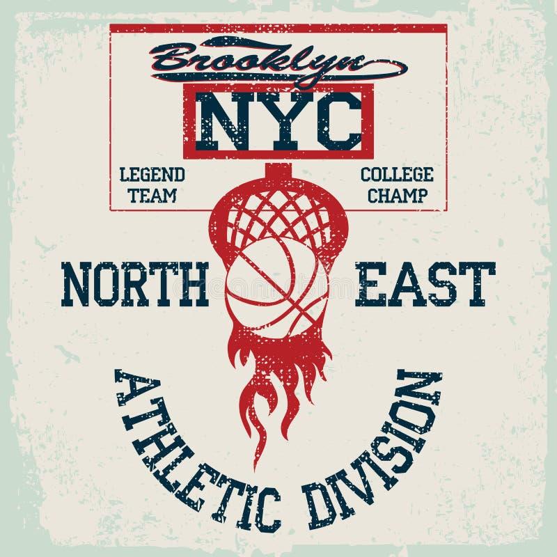 Gráficos do t-shirt da equipa de basquetebol de New York, emblema americano do grunge do campeonato da faculdade, ilustração royalty free