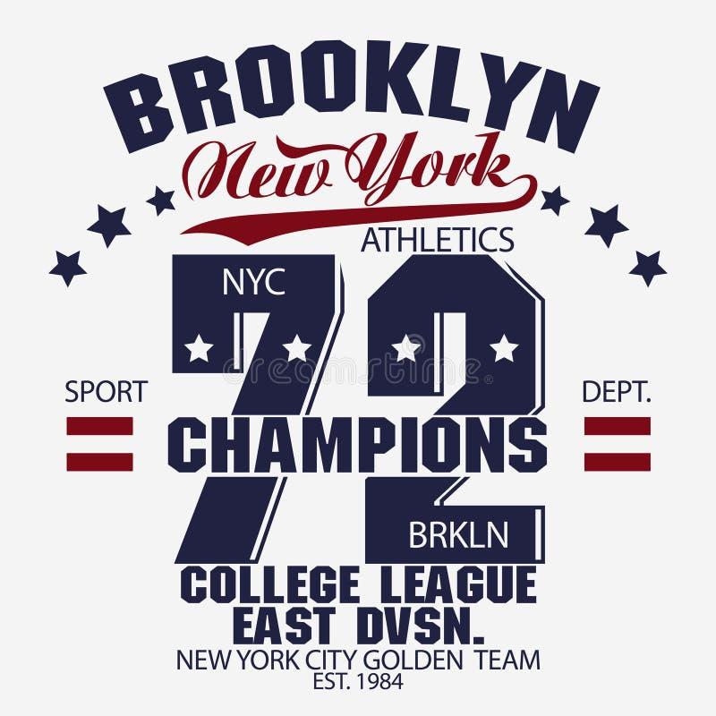 Gráficos do t-shirt de Brooklyn ilustração do vetor