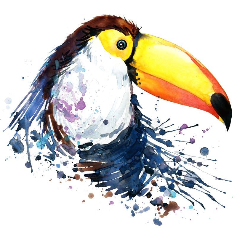 Gráficos do t-shirt do tucano ilustração do tucano com fundo textured aquarela do respingo fá incomum do tucano da aquarela da il ilustração stock