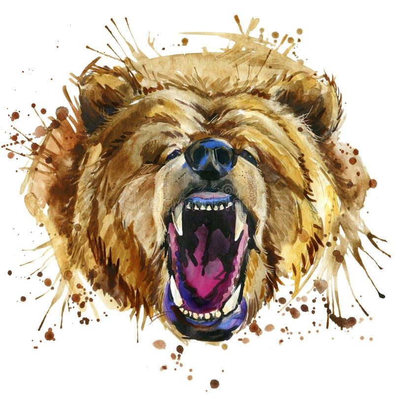 Gráficos do t-shirt do urso pardo da rosnadura ilustração do urso com fundo textured aquarela do respingo waterc incomum da ilust ilustração royalty free