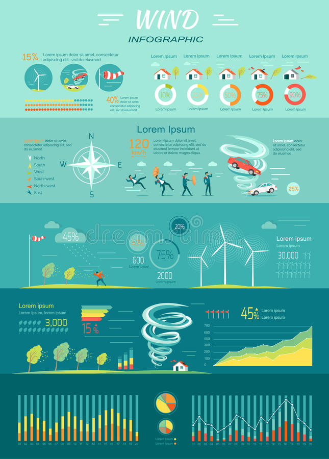Gráficos do vento Furacão do furacão Energia renovável ilustração stock