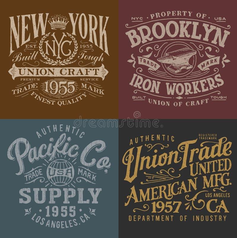 Gráficos do Workwear do vintage ajustados ilustração do vetor