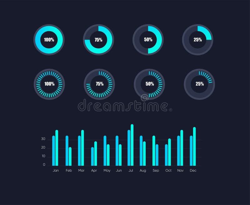 Gráficos dos dados de Infographic Vetor financeiro e cartas do mercado Tela dos dados da rede com cartas e diagramas ilustração royalty free