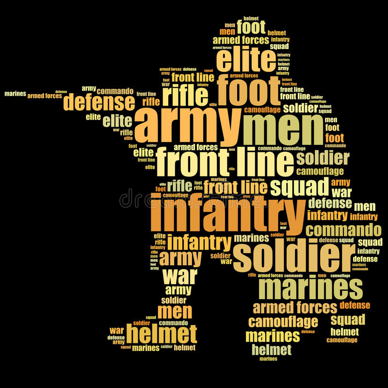 Gráficos dos homens da infantaria ilustração do vetor