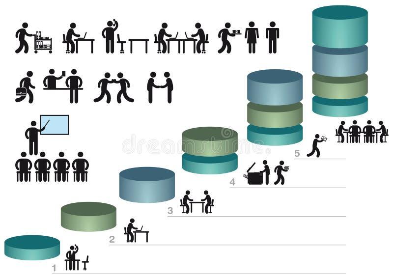 Gráficos e ícones de negócio ilustração do vetor
